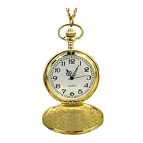 """MAGQOO Classic Smooth Full Hunter Pocket Watch with 31.5"""" Chain (Golden)"""