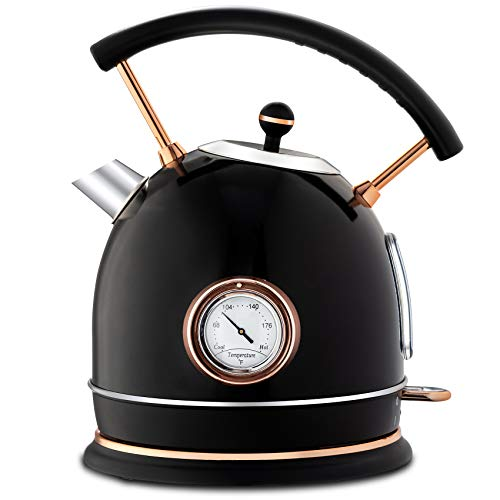Pukomc Electric Kettle Stainless Steel, Fast Boiling, Automatic Shut-off and Dry Boil Protection, 1.8L Cordless Electric Tea Kettle with Led Light, Water and Temperature gauge,Black
