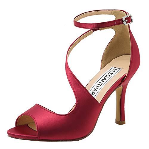 ElegantPark HP1565 Mujer Peep Toe Sandalias Boda Tacón De Aguja Correa De Tobillo Satén Zapatos De Novia Borgoña 38