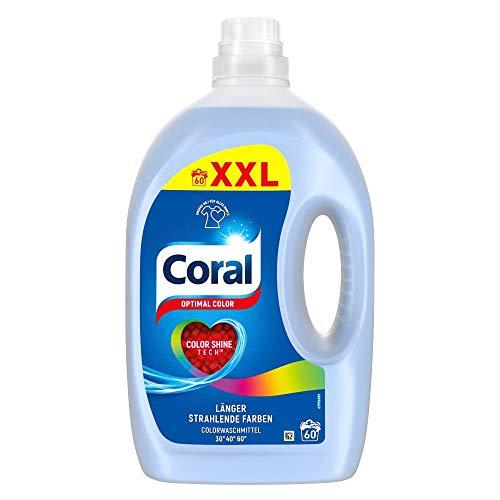 Coral Waschmittel flüssig für bunte Wäsche – 60 Waschladungen hygienisch reine Wäsche, extra stark gegen Flecken – Optimal Color Flüssigwaschmittel ( 1 x 3 L)