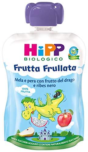 Hipp - Frutta Frullata Bio, Dragone, Gusto Mela, Pera, Frutto Del Drago E Ribes Nero, 6 Confezioni Da 90 G - 540 g
