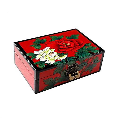Joyero XIAOXIAO Madera Vintage Caja De Almacenamiento De Joyas De Escritorio con Cofre De Exhibición del Tesoro Estuche Contenedor Organizador Tradicional Chino con Espejo Y Cerradura (Color : A)