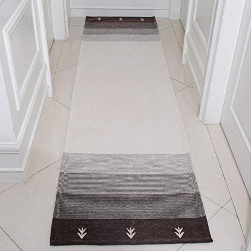 AMIDA 2.3'x9' Hallway Runner Non Slip Backing Machine Washable Brown and Beige Striped Gabbeh - Flat Weave - Non Shedding - Dog Friendly - Easy Care - Soft and Thin - 2.3'x8.9' Kitchen Runner Rug