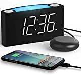 ROCAM Alarm Clock with Vibrating Shaker Bed, Digital LED Clock Display with Dimmer, 7 Colored Night Light, Dual USB Charging Ports for Heavy Sleepers, Hearing Impaired, Deaf People, Seniors - White
