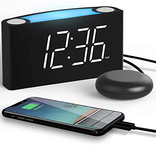 ROCAM Alarm Clock with Vibrating Shaker Bed, Digital LED Clock Display with...