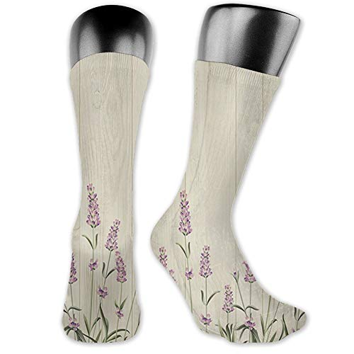 Ingpopol Medium long Crew Socks,Lavender,Aromatic Herbs on Wooden Planks Springtime Nature Botany...