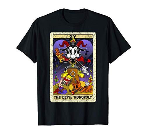 悪魔独占バフォメット古いタイムリーな漫画XVタロットカード Devil Monopoly Baphomet Tシャツ