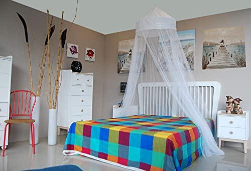 MosquitoHouse Mosquitera para camas de 150 cm de ancho, un solo punto de sujeción y aro pop out para su fácil transporte y almacenamiento. Medidas 65x250x1.250 cm. Corona de algodón y color blanco.