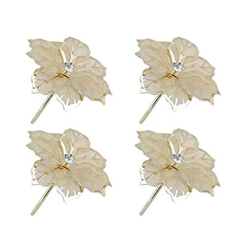 UPKOCH 4pcs Golden Napkin Rings Hodlers Christmas Poinsettia Napkin Rings for Christmas Table Decorations Daily Use