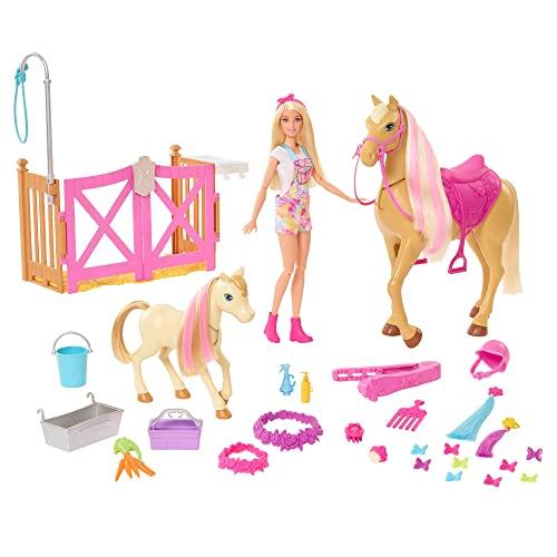 Barbie GXV77 - Spielset mit Puppe, 2 Pferden und über 20 Zubehörteilen, für Kinder zwischen 3 und 7Jahrenn