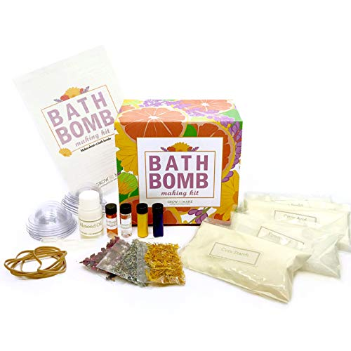 Grow and Make DIY Bath Bomb Making Kit - Learn How to Make Your Own All-Natural Bath Bombs with Lavender and Calendula (Easy Bath Bomb Recipe With Citric Acid)