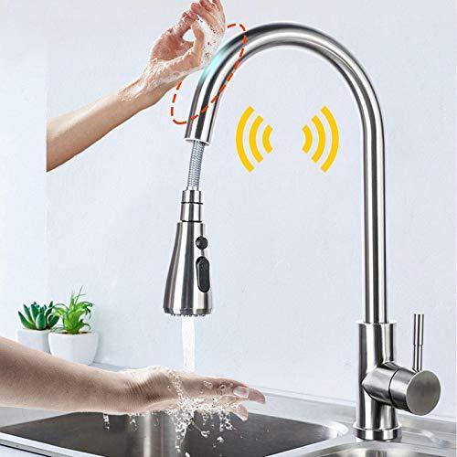Touch Control Grifos de Cocina Fregadero de inducción Inteligente Tap Deck Montaje Pull out Sensor Grifo Automático Smart Induction Taps