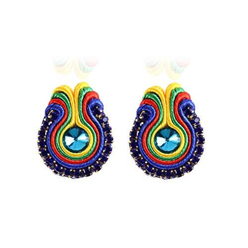 Pendiente de Soutache D hecho a mano, joyería de estilo étnico, pendiente de decoración de cristal femenino, accesorios para banquetes, azul