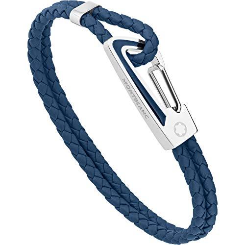 Montblanc Nightflight Mens Blue Woven Leather 63 Bracelet 11855463