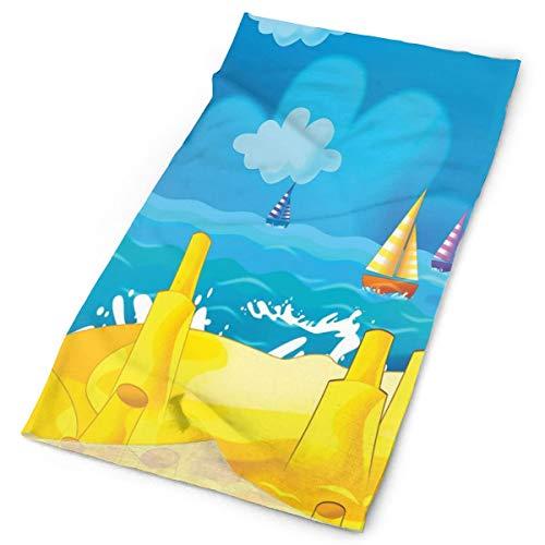 GUUi Headwear Headband Head Scarf Wrap Sweatband,Cartoon Scene with Sandy Beach Sandcastles Playground Boats and Cloudy Sky Print,Sport Headscarves for Men Women