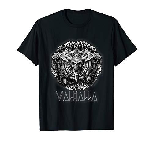 Vikings Old Norse Celtic Pagan Ax Skull Valhalla Mythology T-Shirt