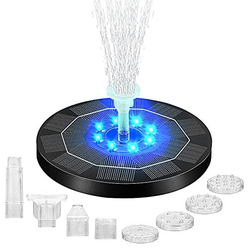 Solar Springbrunnen 3W Solar Teichpumpe Eingebaute 1500mAh Batterie-Backup mit 8 LED-Lichts und 6 Düsen für Gartenteich Pool Hinterhof Dekoration Vogelbad Fisch-Behälter & Aquarium