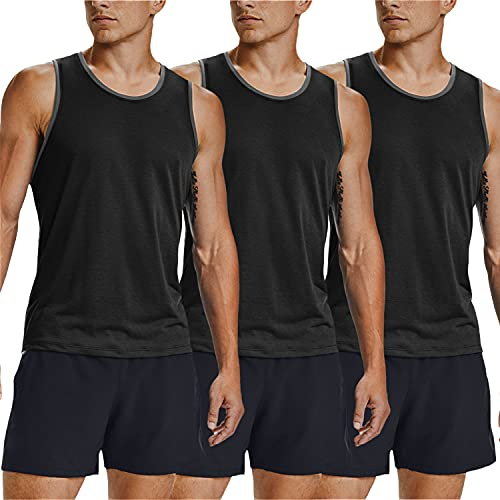 COOFANDY Men's 3 Pack Tank Tops Workout Gym Shirts Muscle Tee Bodybuilding Fitness Sleeveless T Shirts (Black/Black/Black, Large)