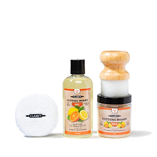 CLARK#039S Cutting Board Finishing Kit | OrangeLemon Scent | CLARK#039S Cutting Board Oil 12 oz  Cutting Board Wax 6oz  Small Applicator  Buffing Pad