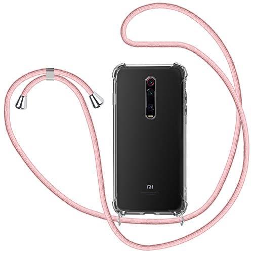 Funda con Cuerda para Xiaomi Mi 9T, Carcasa Transparente TPU Suave Silicona Case con Correa Colgante Ajustable Collar Correa de Cuello Cadena Cordón - Oro Rosa