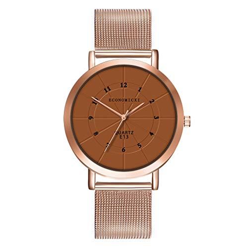 Lazzgirl Frauen-Mädchen-Luxusuhren-Edelstahl-analoge Quarz-Armband-Armbanduhr(Kaffee,Legierung)