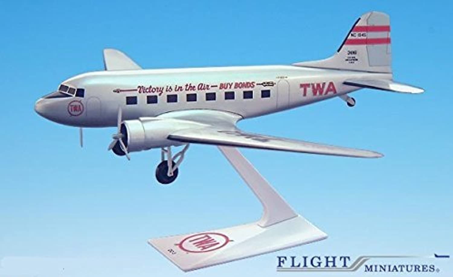 TWA Victory is in the Air DC3 Airplane Miniature Model Plastic Snap Fit 1 100 Part  ADC00300C007