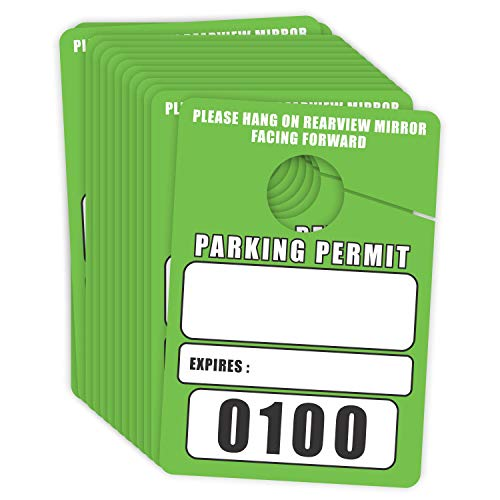 Parking Permit Hang Tags Blank Temporary Pass (Pack of 100) Car Vehicle Parking Management Green 3.30 x 4.75 inches (0001 to 0100) Numbered