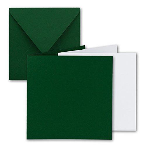 Gustav Neuser - Juego de 25 tarjetas plegables cuadradas (15 x 15 cm, con sobres y hojas interiores), color verde oscuro