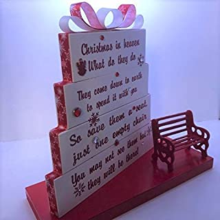 Christmas in Heaven, save them a seat, one empty chair, Stained or Painted white with red and white snowflake ribbon, snowflakes with Red Detailed Bench