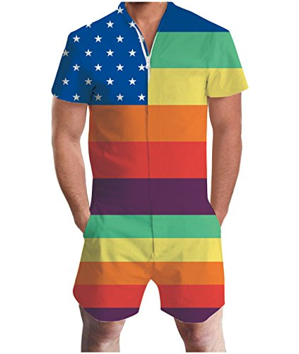Idgreatim Men 3D Graphic American Flag Short Sleeve Printed One Piece Romper Jumpsuit S