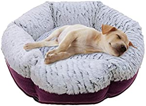 SCENEREAL Pet Bed for Cat and Dog, Self Warming Soft PV Fabric Durable Linen Cat Bed and Small Dog Bed