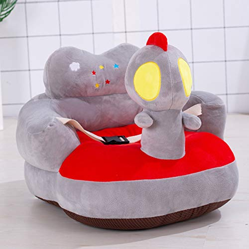 Jiaojie Plush Baby Sofa Cartoon Figure Soft Floor Chair Toy with Backrest & Belt for Baby Learning to Sit