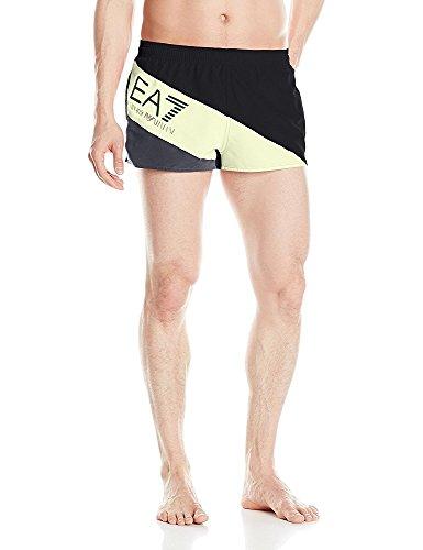 Emporio Armani Herren Badeshorts mit Farbblock-Logo, vorne gestreift, mittlere Länge - Schwarz - X-Large/54 EU
