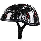 オープンフェイスオートバイヘルメットハーフバイクヘルメット、DOT/ECEオートバイヘルメット男性女性パイロットハーフヘルメットスクーター原付パイロットヘルメット G,55~62CM