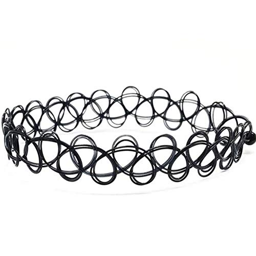 EROSPA® Tattoo Stretch-Halsband/Kropfband/Armband/Beinband - Damen/Frauen - Retro/Vintage/Punk/Gothic - Schwarz