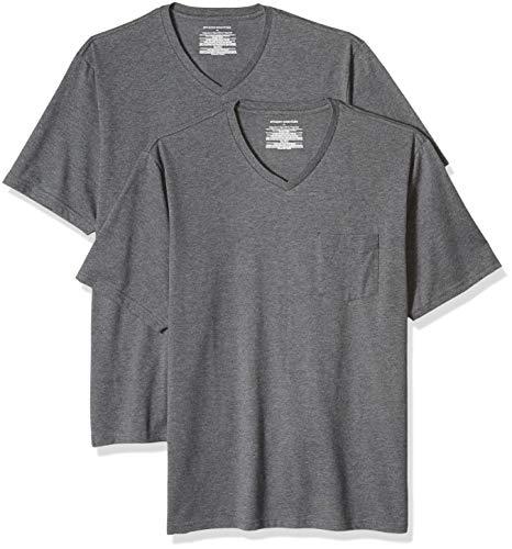 Amazon Essentials - Pack de 2 camisetas de corte holgado con cuello en V y bolsillo en el pecho para hombre, Gris (Charcoal Heather Cha), US S (EU S)