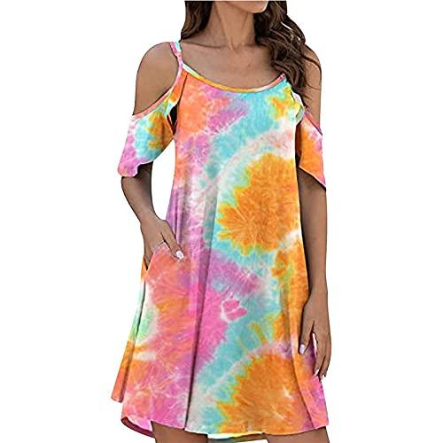 Liably Vestido de mujer Tie-Dye sin tirantes, con volantes, manga corta, vestido de verano, moderno, multicolor, vestido suelto Y2K naranja S