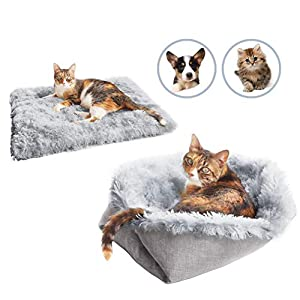 Sensfun Pet Bed for Cats Small Dogs, Function 2 in 1 Soft Plush Blanket for Indoor Cats Dogs Fluffy Pet Bed for Kittens Puppy Dog, Machine Wash & Dryer Friendly