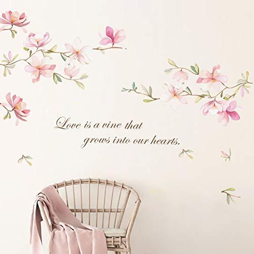 decalmile Pegatinas de Pared Rosado Flor Vinilos Decorativos Magnolia Floral Adhesivos Pared Habitación Niña Salón Dormitorio