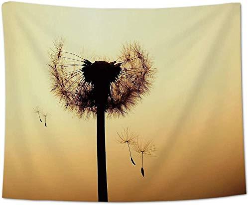 Yhjdcc Wand h?ngen wirft Tapestry gefallen l?wenzahn Pflanze Home Tapestries f¨¹r b¨¹ro k¨¹Che Schlafzimmer wohnwohnzimmer dekor Sonnenuntergang mit Blume 150cm x 200 cm