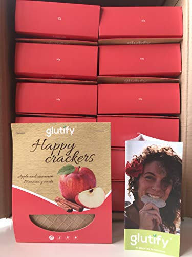 Glutify Crackers Tostis orgánicos de Trigo Sarraceno con manzana y canela 60g (22 unidades)|100% Natural, sin gluten, sin OGM