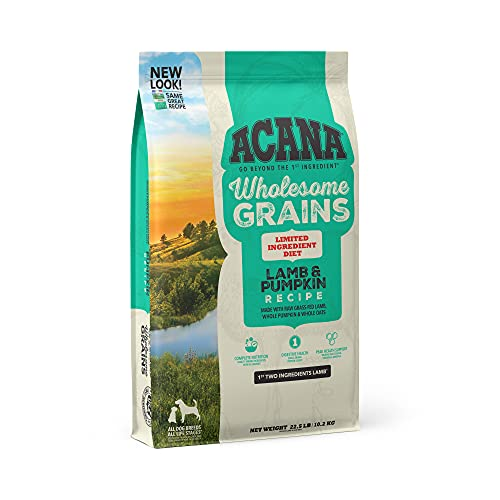 Acana Wholesome Grains Dry Dog Food, Limited Ingredient Diet, Gluten Free, Lamb & Pumpkin, 22.5lb