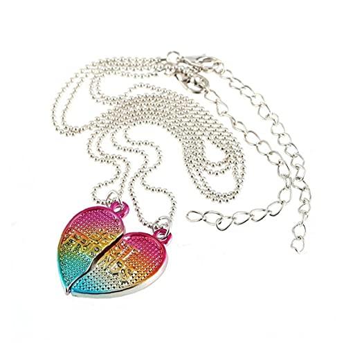2 PCS Creativo Colgante, Collar BFF La Mitad del corazón gradiente de Colores Mejor Amigo aleación Collar con Cuentas Accesorios de la joyería de la Cadena y periféricos