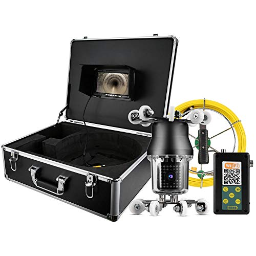 zcyg Cámara Cámara de vigilancia Cámara de Seguridad Cámara Impermeable, 7in 98.4 Pies Cámara De WiFi Giratoria De 360 Grados IP68 Inspección De Tubería 38led Endoscopio 100-240V (Reino Unido)