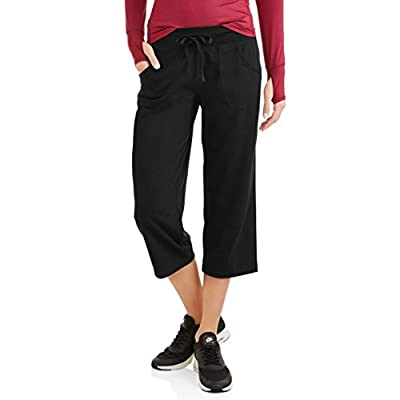 Athletic Works Womens Active Knit Capri (Medium, Black)