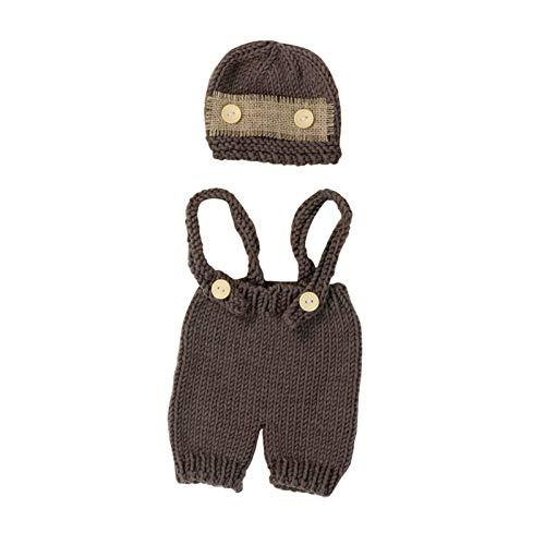 Mjwlgs Ropa de fotografía de bebé 2021 New Recién Nacido Bebé Punto Crochet Ropa Traje Fotografía Photography Props Outfit Niños Sombreros Fotografía Monofits (Color : Brown, Size : One Size)