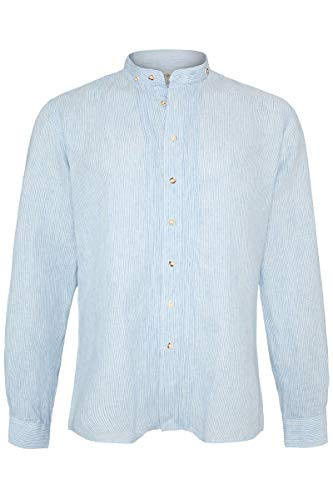 Almsach Herren Trachten Leinenhemd Stehbund Slim lightblue, Light-Blue, M