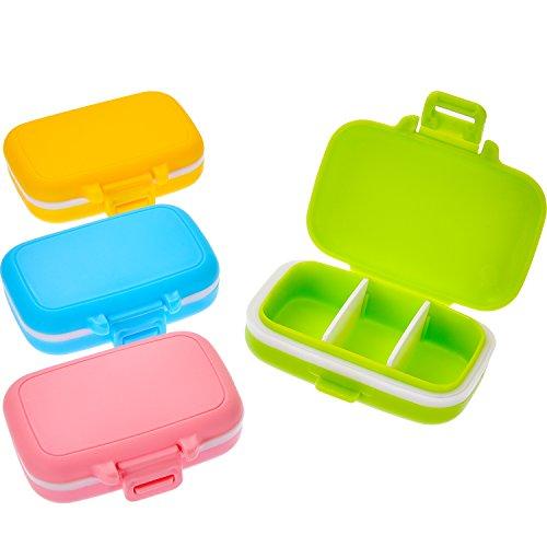4 Piezas de Caja de Pastillas 3 Compartimentos Desmontables Pastillero Impermeable de Plástico Organizador de Medicinas para Uso Diario y de Viaje, 4 Colores