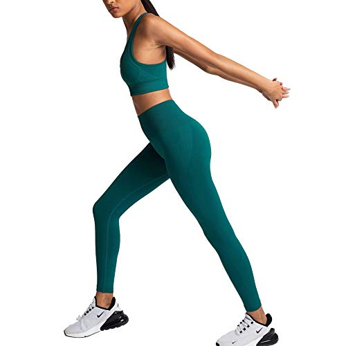 Women's Workout Outfits 2 Pieces Yoga Set Gym Exercise Seamless Yoga Leggings with Sports Bra Fitness Activewear (Green, M)