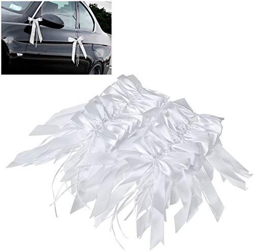 Willlingood 60 Stück Antennenschleifen Autoschleifen Autoschmuck Dekoration für Hochzeit [Weiß]